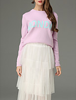 cheap -Women's Long Sleeve Cotton Pullover - Letter