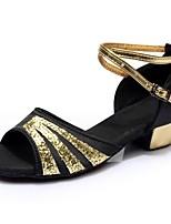 abordables -Mujer Zapatos de Baile Latino Satén / Cuero Patentado Sandalia / Tacones Alto Corte Talón grueso Personalizables Zapatos de baile Negro