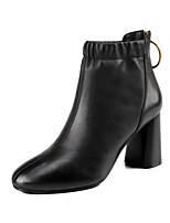 Недорогие -Жен. Комфортная обувь Наппа Leather Наступила зима Ботинки Блочная пятка Черный / Коричневый