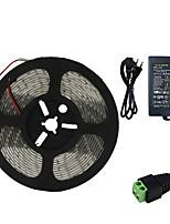 baratos -HKV 5m Faixas de Luzes LED Flexíveis 300 LEDs SMD5630 Adaptador de energia 1 X 5A Branco Quente / Branco Frio Impermeável / Cortável / Conetável 100-240 V