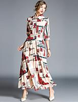 cheap -Women's Street chic Swing Dress - Abstract Print