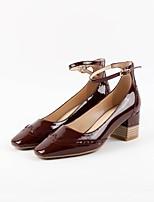Недорогие -Жен. Обувь Наппа Leather Лето Туфли лодочки Обувь на каблуках На толстом каблуке Винный / Миндальный