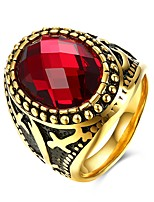 cheap -Men's Stylish Ring - Titanium Steel Creative Fashion 9 / 10 / 11 Black / Red For Party Daily
