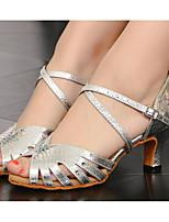preiswerte -Damen Schuhe für den lateinamerikanischen Tanz PU Absätze Schlanke High Heel Tanzschuhe Silber