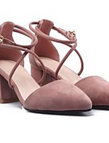 Недорогие -Жен. Комфортная обувь Овчина Лето Обувь на каблуках На толстом каблуке Черный / Розовый / Миндальный