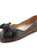 Недорогие -Жен. Обувь Полиуретан Осень Удобная обувь На плокой подошве На плоской подошве Квадратный носок Бант Золотой / Синий
