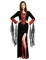 cheap -Witch Costume Women's Halloween Carnival Masquerade Festival / Holiday Halloween Costumes Outfits Black Solid Colored Halloween Halloween