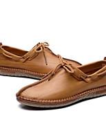 Недорогие -Муж. Комфортная обувь Кожа Весна лето На каждый день Мокасины и Свитер Темно-коричневый / Хаки