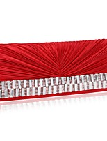 Недорогие -Жен. Мешки Полиэстер Вечерняя сумочка Кристаллы / Однотонные Черный / Красный / Миндальный