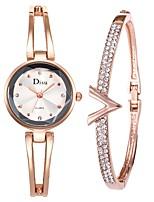 baratos -Mulheres Relógio Elegante Bracele Relógio Quartzo 50 m Criativo Aço Inoxidável Banda Analógico Elegante Prata - Dourado Prata Branco / Dourado Um ano Ciclo de Vida da Bateria
