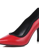 Недорогие -Жен. Наппа Leather Весна Удобная обувь Обувь на каблуках На шпильке Черный / Красный