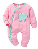 cheap -Baby Girls' Print / Patchwork / Jacquard Long Sleeve Romper