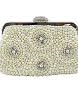 cheap -Women's Bags Synthetic Evening Bag Pearls Floral Print Beige