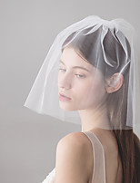 cheap -Two-tier Simple Style Wedding Veil Shoulder Veils 53 Back Vent 30 cm Cotton / nylon with a hint of stretch