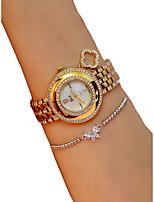 abordables -Femme Montre Bracelet Quartz Chronographe Lumineux Adorable Alliage Bande Analogique Etincelant Mode Argent / Doré - Or Argent / Imitation de diamant
