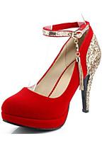 Недорогие -Жен. Комфортная обувь Синтетика Весна Обувь на каблуках На шпильке Черный / Красный