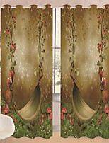 cheap -3D Curtains Bedroom Geometric Polyester Reactive Print / Blackout