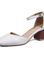 Недорогие -Жен. Обувь Полиуретан Весна Туфли лодочки Обувь на каблуках На толстом каблуке Белый / Черный / Оранжевый
