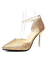 baratos -Mulheres Sapatos Confortáveis Couro Ecológico Verão Saltos Salto Agulha Dourado / Preto / Prata