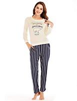 cheap -Women's Round Neck Suits Pajamas Striped