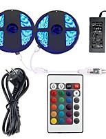 economico -KWB 2x5m Strisce luminose LED flessibili / Controlli remoti / Luci intelligenti 600 LED SMD5050 1 adattatore 12V 6A / 1 telecomando da 24Keys Colori primari Impermeabile / Accorciabile / Decorativo