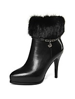 cheap -Women's Shoes Nappa Leather Fall & Winter Comfort Boots Stiletto Heel Black