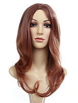 cheap -Synthetic Wig Straight Middle Part Synthetic Hair 20 inch Middle Part / African American Wig Brown Wig Women's Mid Length Capless