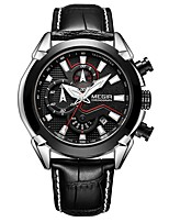 cheap -MEGIR Men's Sport Watch Japanese Quartz 30 m Water Resistant / Water Proof Calendar / date / day Chronograph Leather Band Analog Casual Fashion Black - Black / Silver Black / Rose Gold / Noctilucent