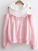 cheap -women's long sleeve hoodie - color block hooded