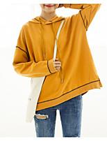 preiswerte -Damen Kapuzenshirt Solide Baumwolle