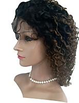 Недорогие -Натуральные волосы Лента спереди Парик Индийские волосы Kinky Curly Парик 130% Парики из натуральных волос на кружевной основе