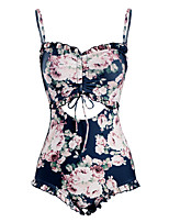 cheap -Women's Strap One-piece - Floral Backless / Ruffle / Print Cheeky