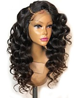 cheap -Remy Human Hair Lace Front Wig Brazilian Hair Loose Wave Wig Layered Haircut 150% Natural Hairline / For Black Women Black Women's Long Human Hair Lace Wig