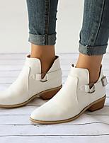 Недорогие -Жен. Fashion Boots Полиуретан Весна & осень Английский Ботинки На толстом каблуке Заостренный носок Ботинки Пряжки Белый / Черный