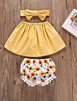 Недорогие -малыш Девочки Цветок солнца Однотонный / Цветочный принт Без рукавов Набор одежды