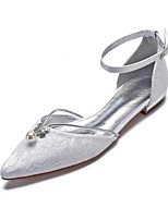 preiswerte -Damen Komfort Schuhe Spitze / Satin Frühling Sommer Hochzeit Schuhe Flacher Absatz Spitze Zehe Imitationsperle / Glitter Weiß / Elfenbein / Party & Festivität