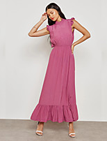cheap -Women's Street chic / Sophisticated Sheath / Swing Dress - Solid Colored Backless / Layered / Ruffle