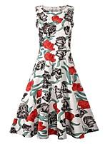 Недорогие -Жен. Винтаж / Элегантный стиль С летящей юбкой Платье - Цветочный принт, С принтом Средней длины Роуз