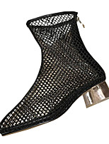 Недорогие -Жен. Обувь Полиуретан Лето Оригинальная обувь Ботинки На толстом каблуке Круглый носок Сапоги до середины икры Белый / Черный