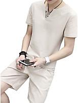 cheap -Men's Short Sleeve Linen Activewear Set - Letter