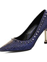 Недорогие -Жен. Комфортная обувь Полиуретан Лето Обувь на каблуках На шпильке Черный / Серебряный / Синий