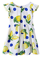 economico -Bambino / Bambino (1-4 anni) Da ragazza Giallo limone Frutta Manica corta Vestito