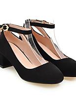 Недорогие -Жен. Комфортная обувь Полиуретан Весна Обувь на каблуках На толстом каблуке Черный / Розовый / Миндальный