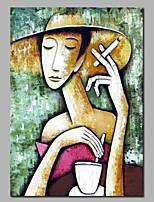 Недорогие -Hang-роспись маслом Ручная роспись - Абстракция / Люди Modern холст