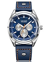 cheap -MEGIR Men's Sport Watch Japanese Quartz 30 m Water Resistant / Water Proof Calendar / date / day Chronograph Genuine Leather Band Analog Luxury Fashion Black / Blue - Black Blue / Noctilucent