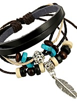 cheap -Women's Braided Chain Bracelet - Feather Simple Bracelet Black / Coffee / Red For Festival