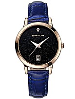 cheap -SANDA Women's Dress Watch Wrist Watch Japanese Quartz 30 m Water Resistant / Water Proof Calendar / date / day New Design Leather Band Analog Casual Fashion Black / White / Blue - Red Blue Pink
