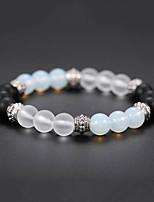 cheap -Men's Crystal / Black Matte Stylish Strand Bracelet / Bracelet - Resin Creative Natural, Casual / Sporty, Fashion Bracelet White For Birthday / Daily