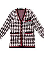 cheap -women's long sleeve cardigan - color block v neck