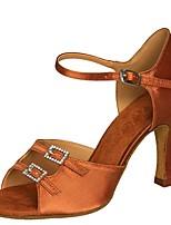 baratos -Mulheres Sapatos de Dança Latina Cetim Sandália / Salto Salto Carretel Personalizável Sapatos de Dança Preto / Caqui / Castanho Escuro